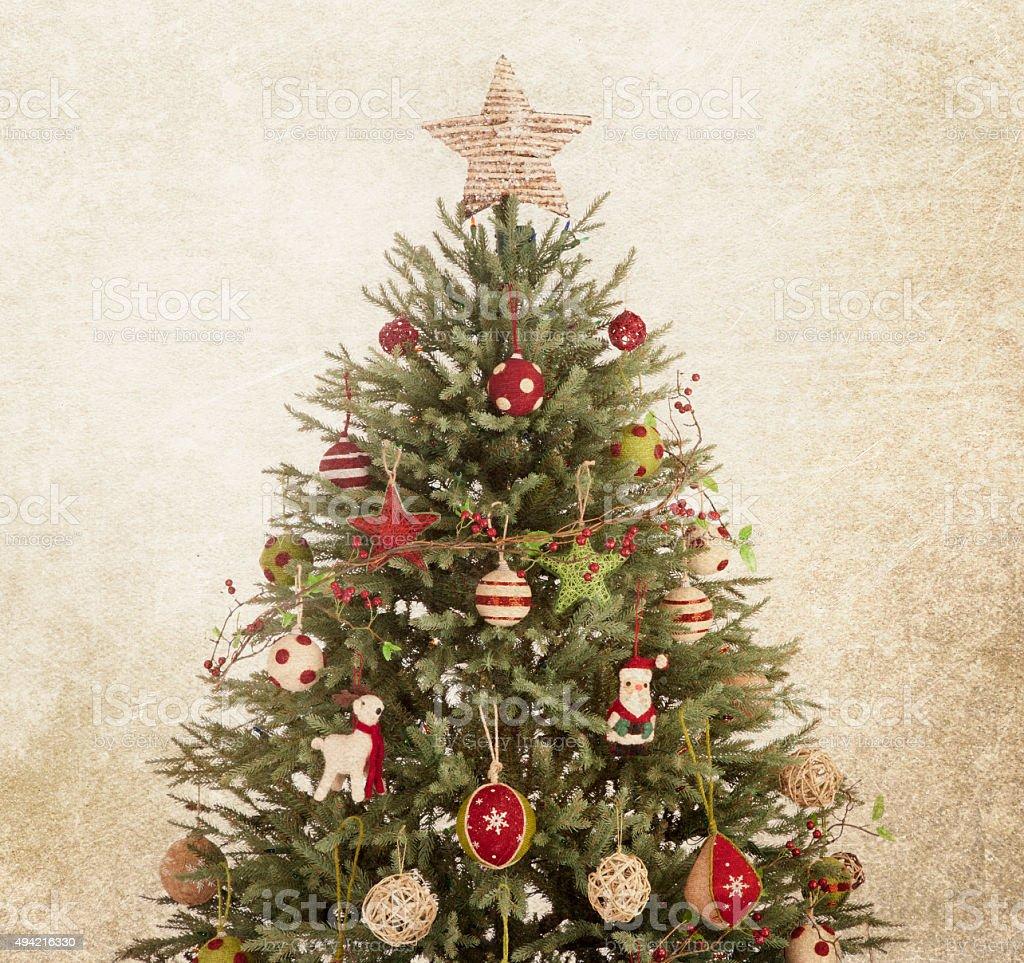 Eco Environmentally Friendly Christmas Tree on Textured Grunge Background stock photo