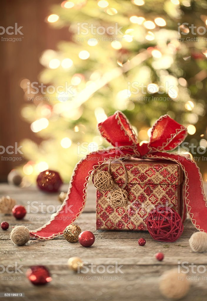 Eco environmentally friendly, holiday christmas gift, on rustic old wood stock photo