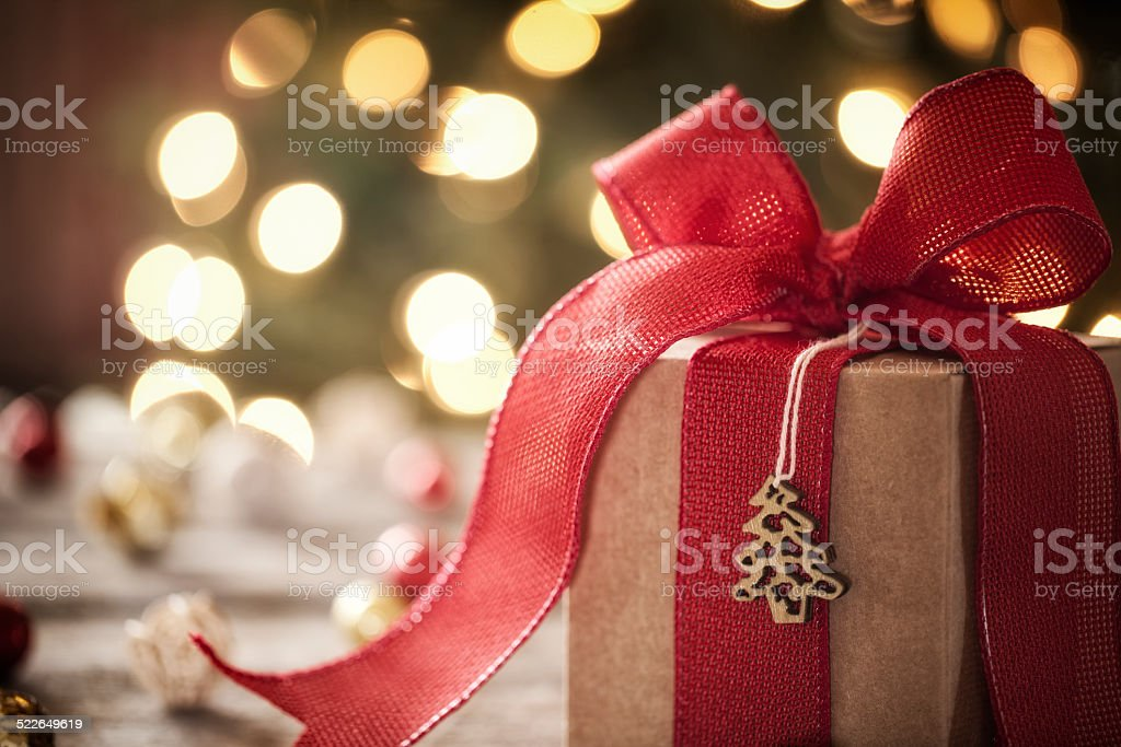 Eco environmentally friendly, holiday christmas gift, on rustic wood table stock photo
