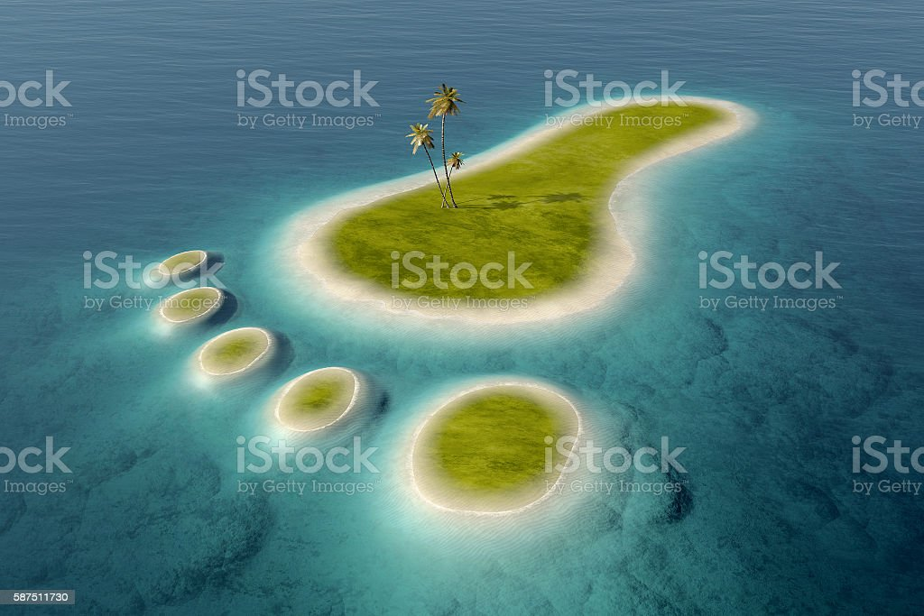 Eco footprint shaped island stock photo