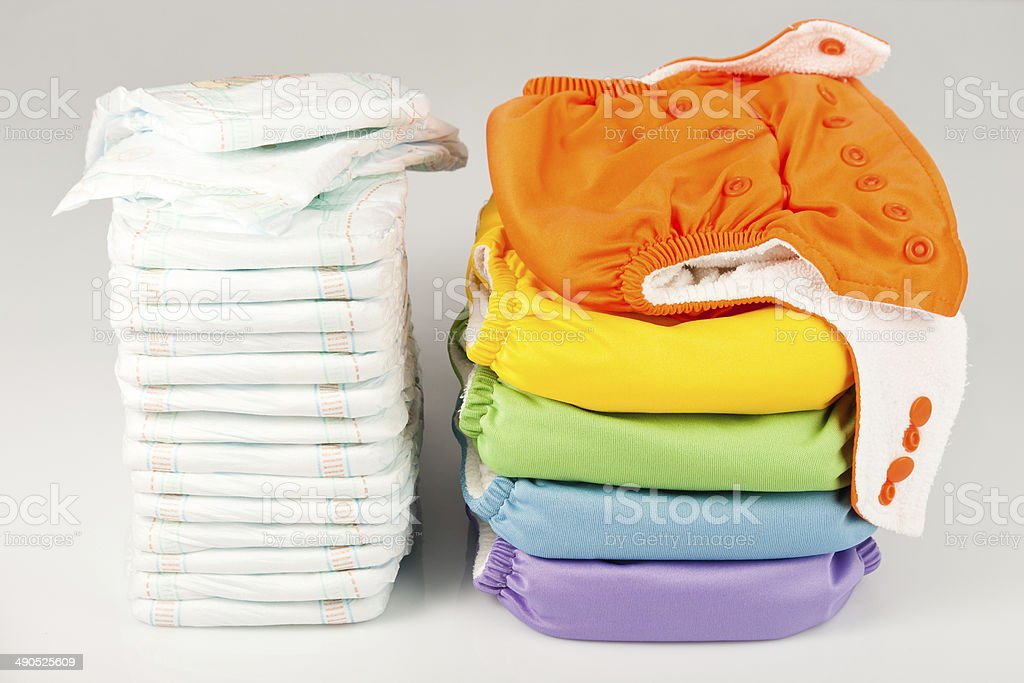 Eco friendly diapers and pampers stock photo