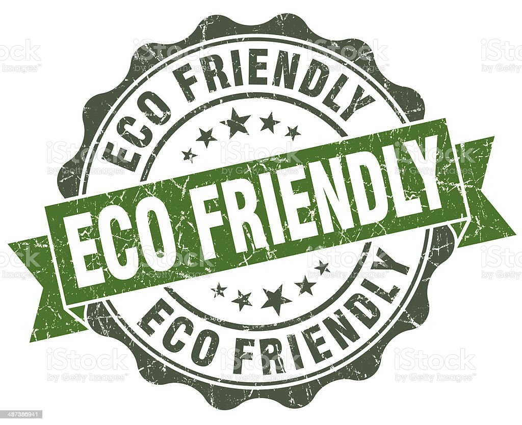 Eco friendly green grunge retro style isolated seal stock photo