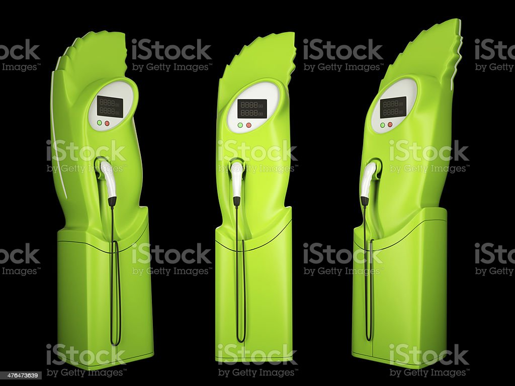 Eco friendly transport: charging stations for electric autos royalty-free stock photo
