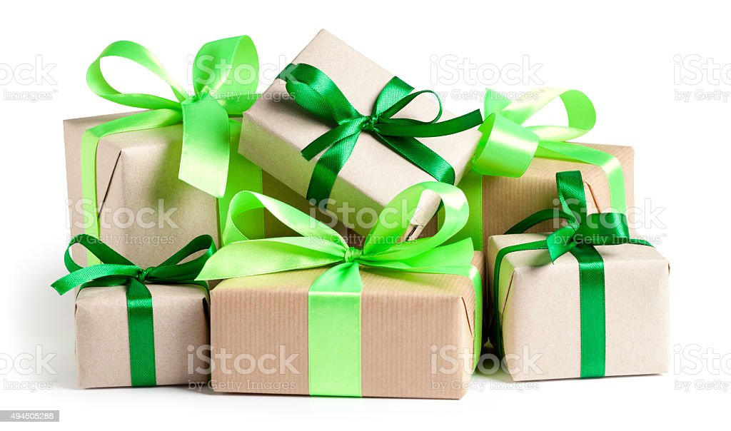 Eco gift boxes on white stock photo