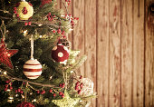 Eco Holiday Christmas Tree, Natural Ornaments and Wood Door Backround
