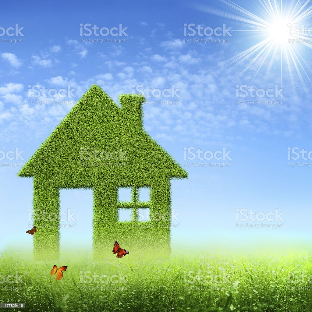 Eco House. Abstract environmental backgrounds stock photo