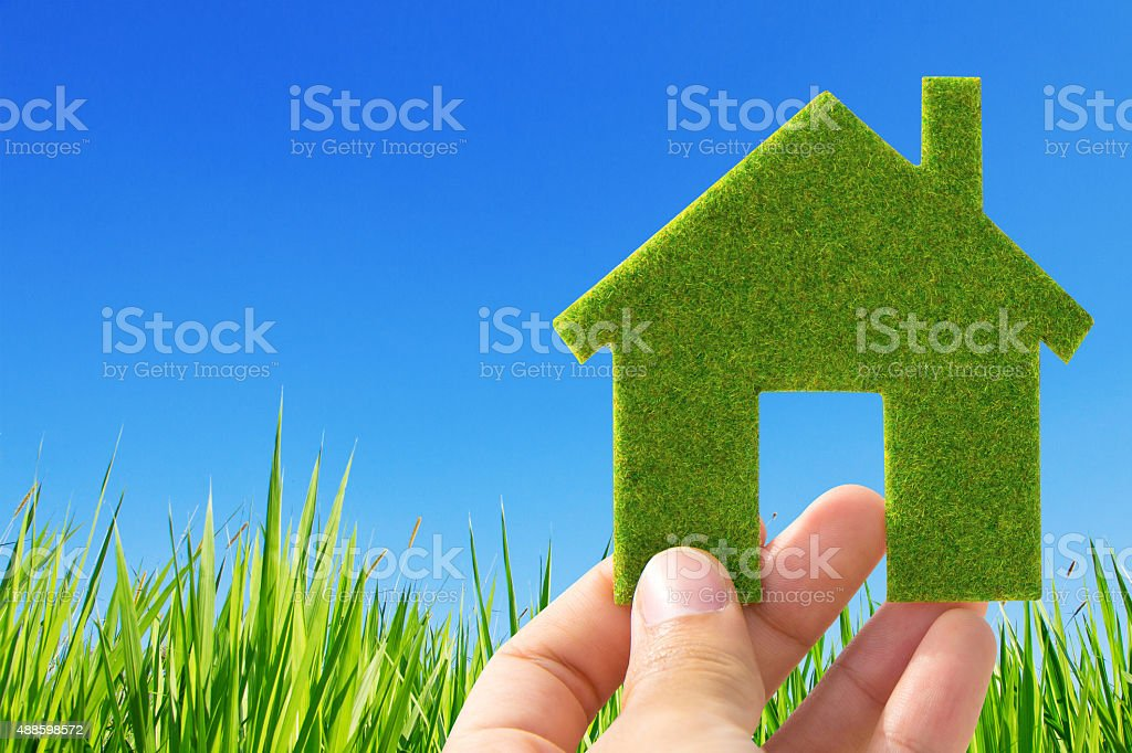 eco house icon concept stock photo