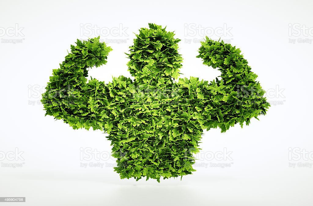 Eco muscles sign stock photo