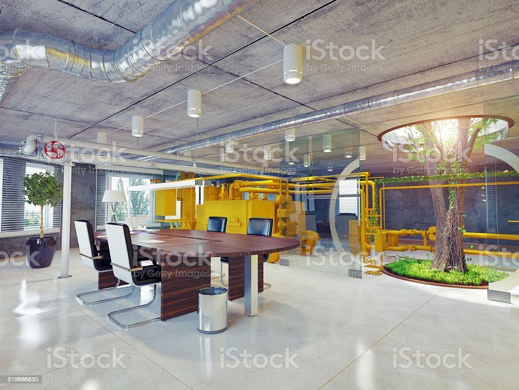 eco office interior stock photo