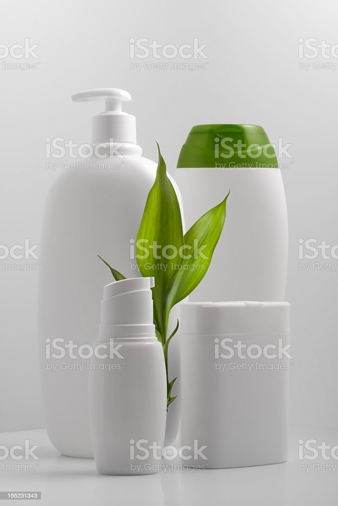 Eco packaging with white bottles royalty-free stock photo