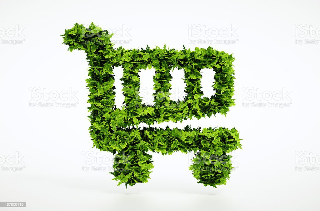 Eco shopping cart sign stock photo