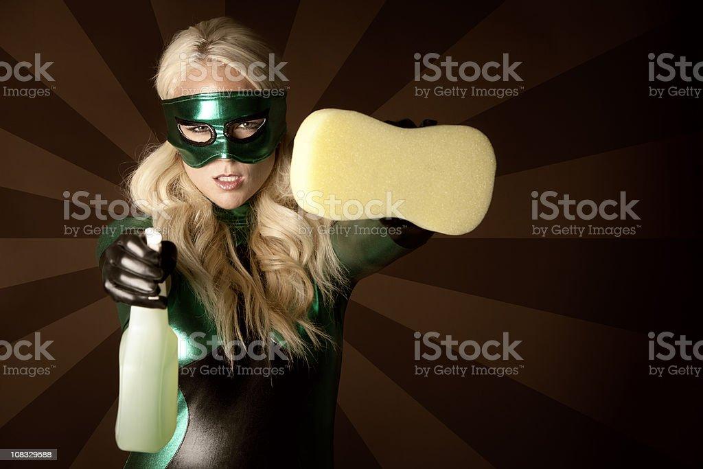 Eco Superhero Ready To Clean royalty-free stock photo