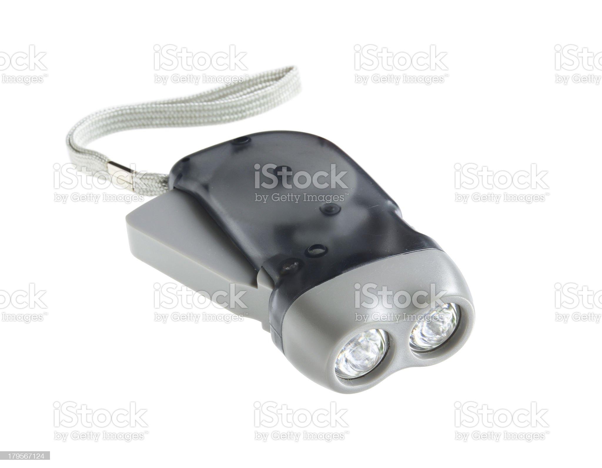 Eco Torch (hand crank press powered dynamo LED flashlight) royalty-free stock photo