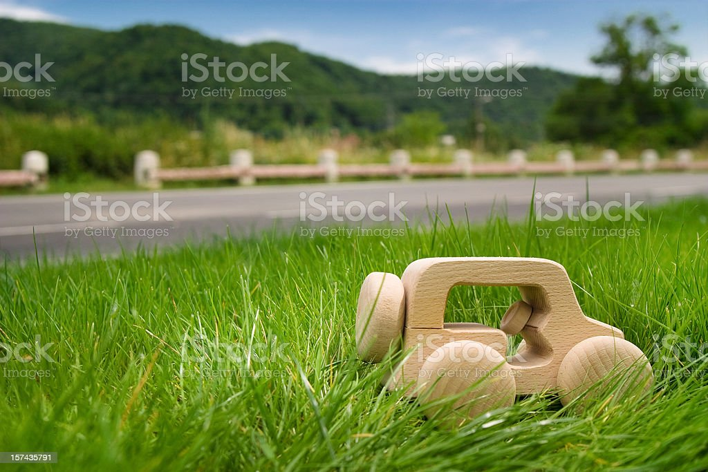 Eco wooden vehicle in the grass royalty-free stock photo