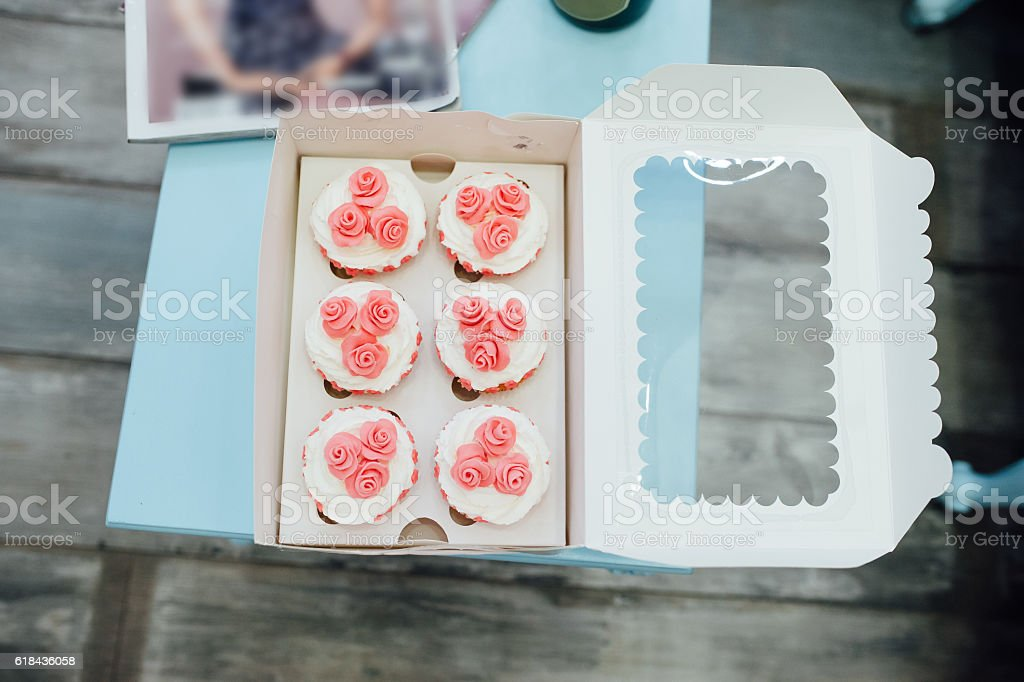 eco-friendly French makarons cake on the table stock photo