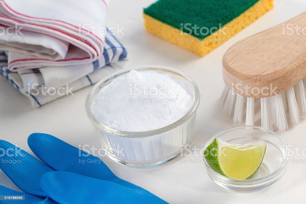 Eco-friendly natural cleaners Vinegar, baking soda, salt, lemon stock photo