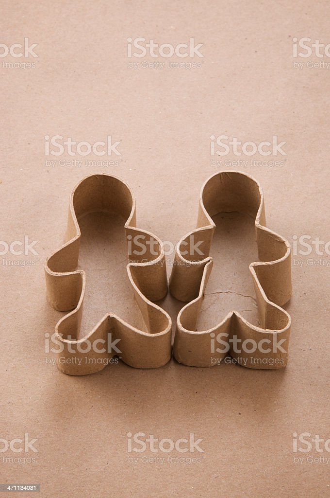 Eco-Friendly Recycled Cardboard Cutout Couple Stand Empty stock photo
