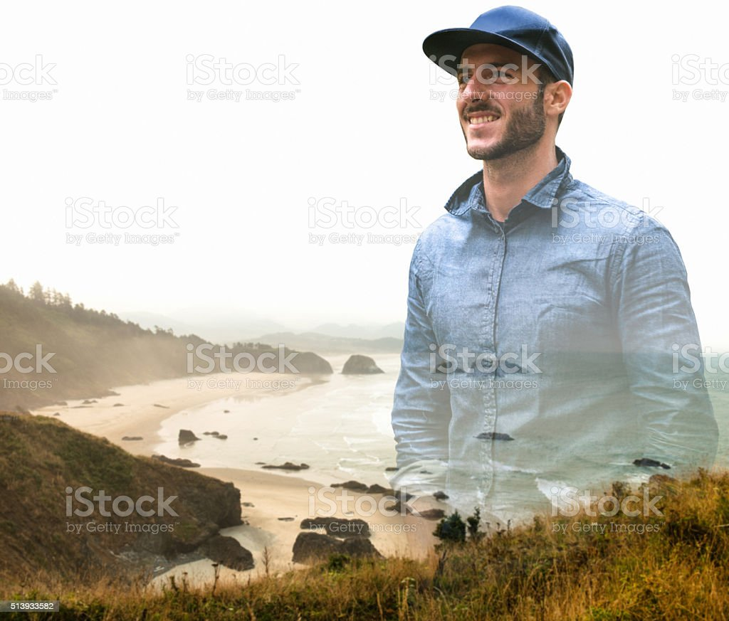 Ecola state park landscape on the Oregon Coastline stock photo