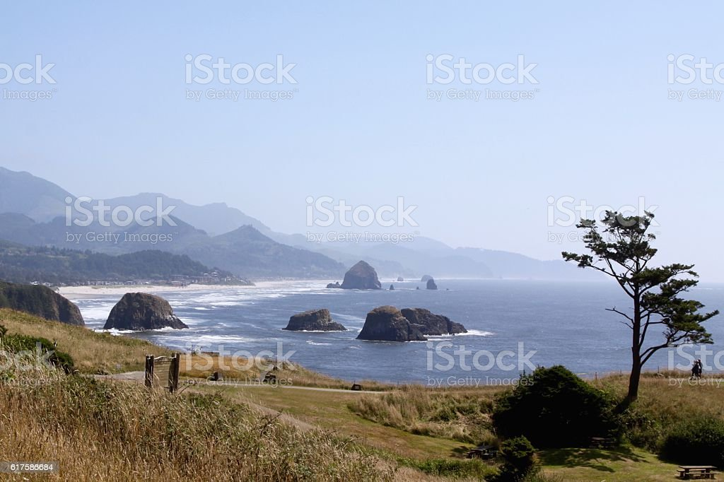 Ecola State Park Looking South To Cannon Beach stock photo