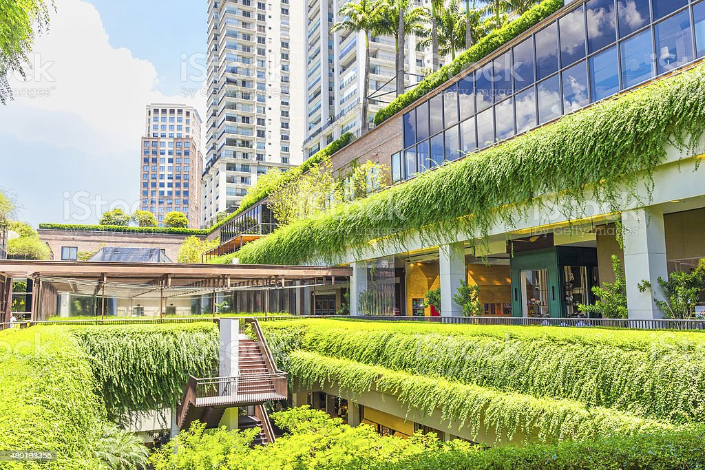 Ecologic building shopping mall in Sao Paulo, Brazil stock photo