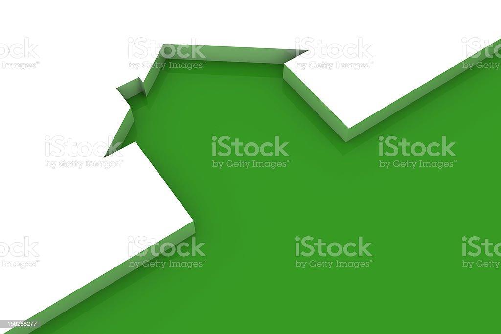 Ecologic home (green outline on white) vector art illustration