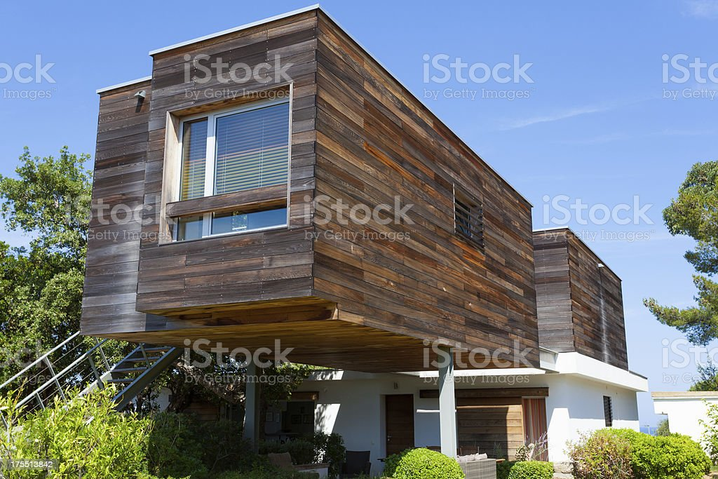 Ecological. Modern and Efficient Wooden Design House royalty-free stock photo