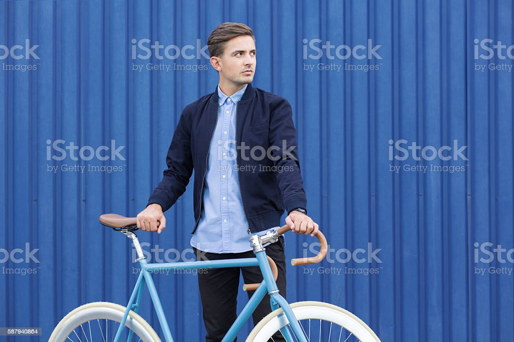 Ecological young businessman stock photo