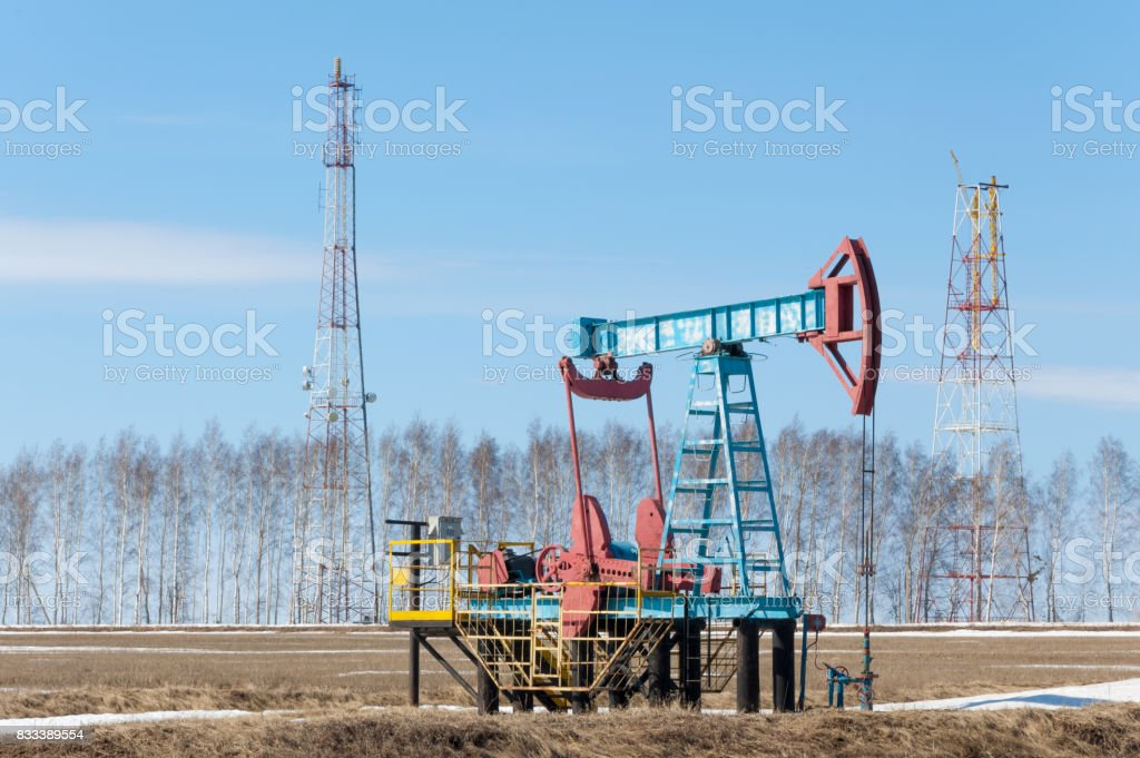 ecology, bionomics. Oil pumps. Oil industry equipment. Beam Pumping unit oil and gas stock photo