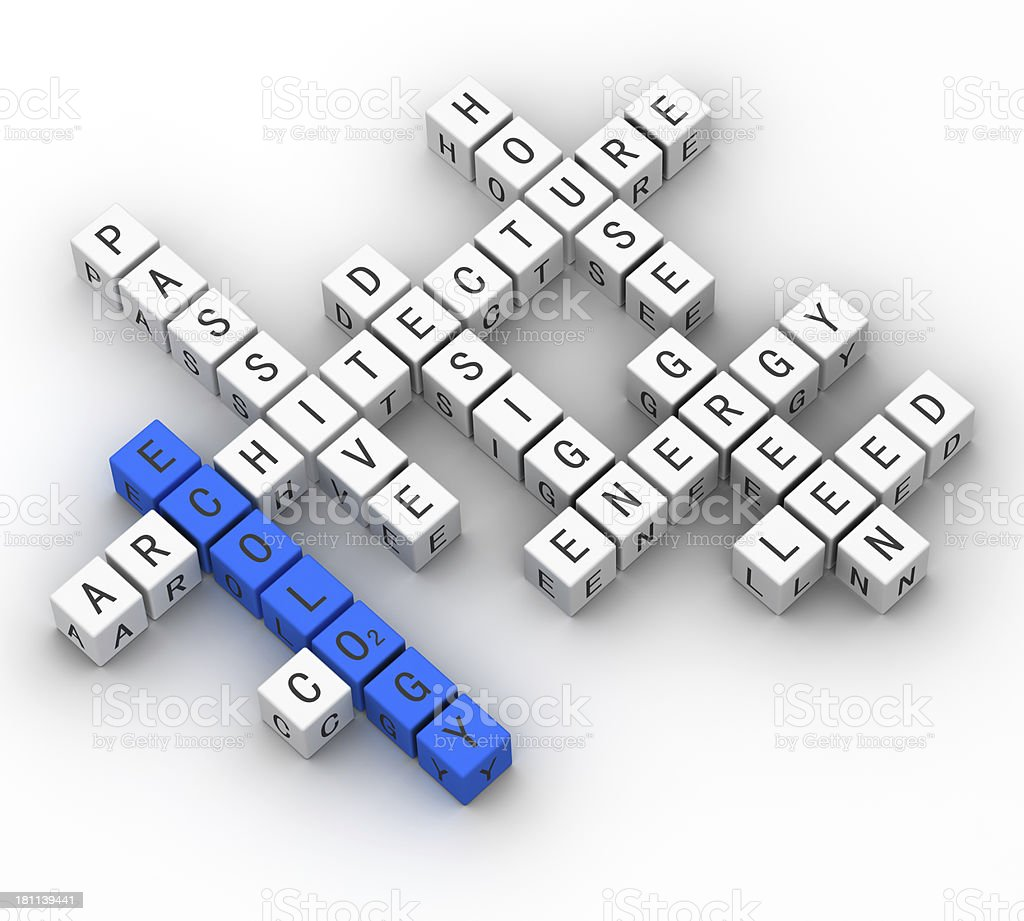 ecology concept crossword stock photo