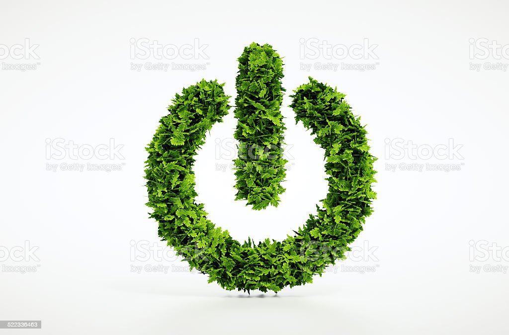 Ecology natural power on button home image with white background stock photo