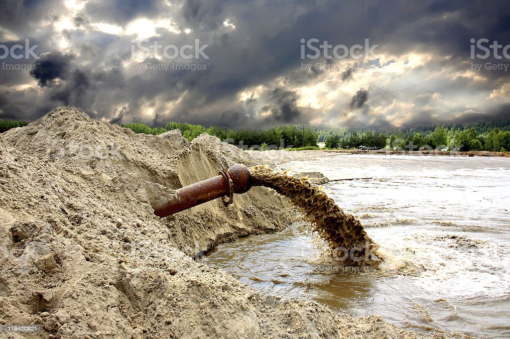 Ecology, pollution of wood and the rivers stock photo