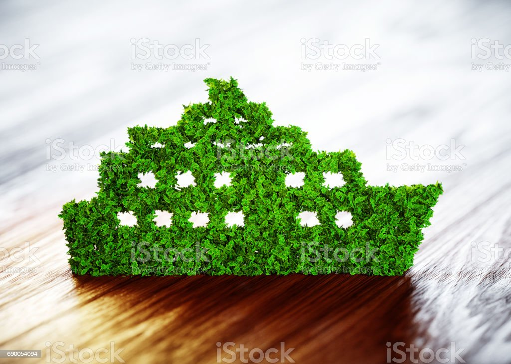 Ecology ship concept. 3D illustration on wooden background. stock photo