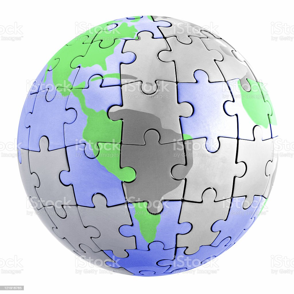 ecology vs pollution - puzzle earth royalty-free stock photo