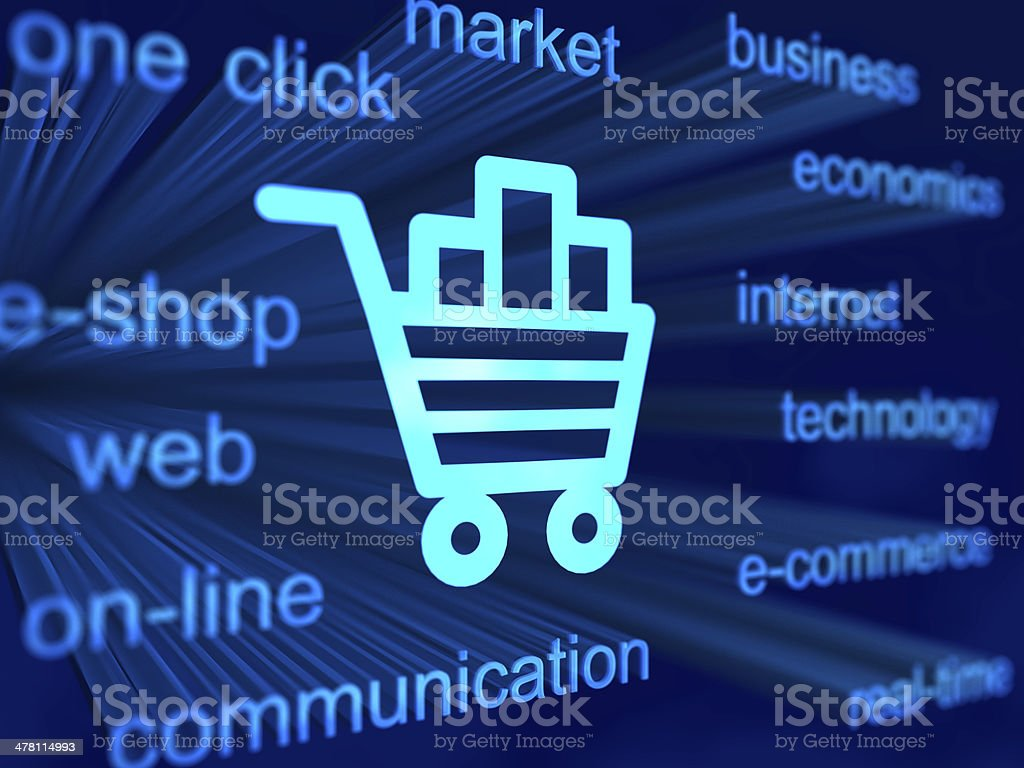 e-commerce background with cart icon royalty-free stock photo