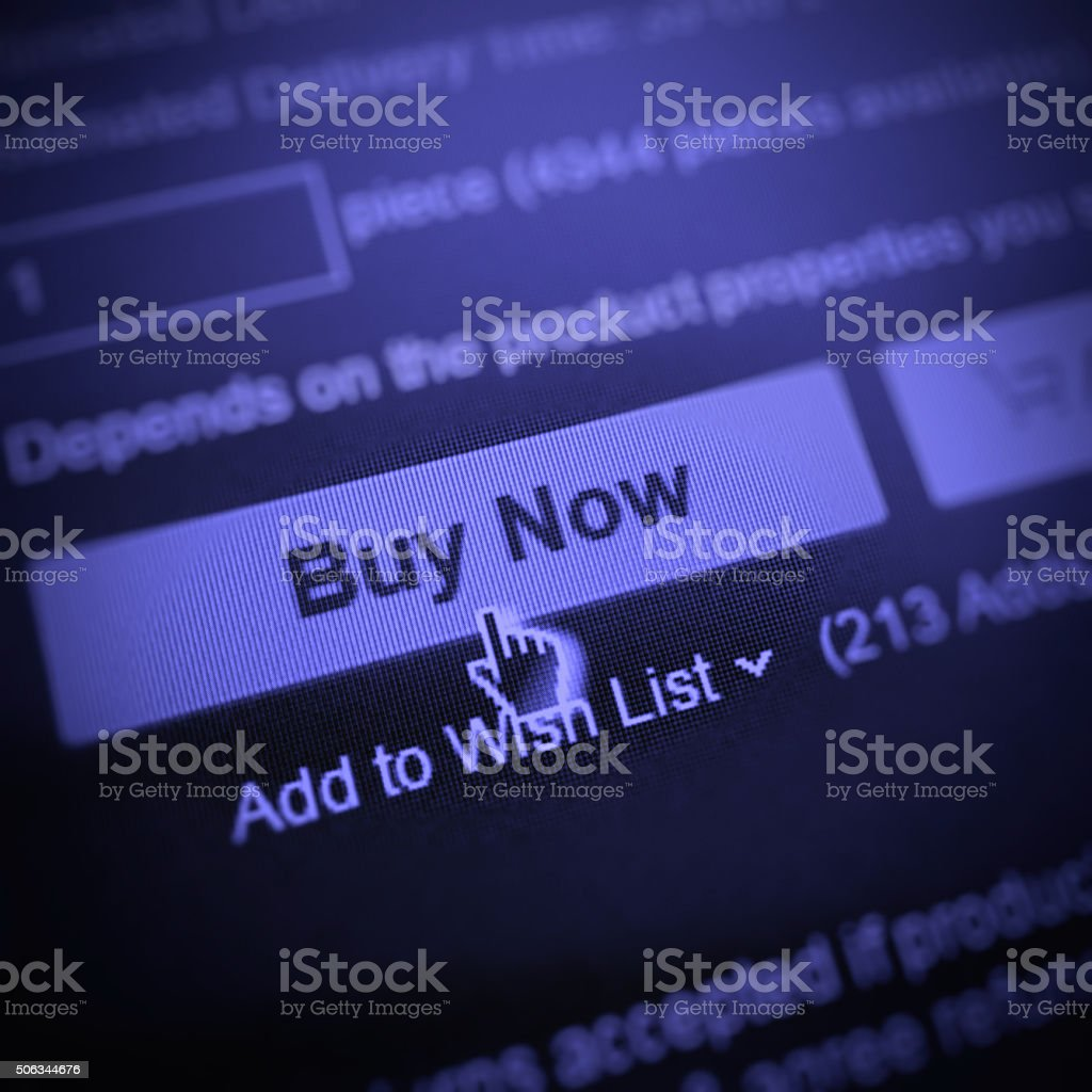 E-commerce buy now button stock photo