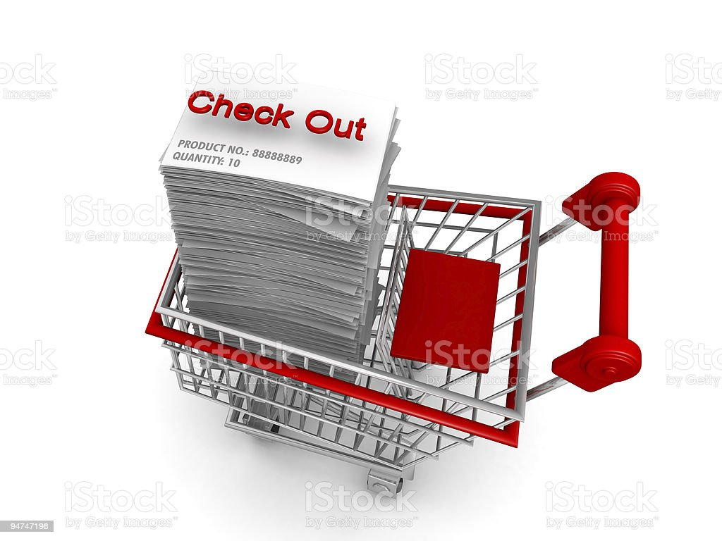 E-commerce concept shopping cart to check out royalty-free stock photo