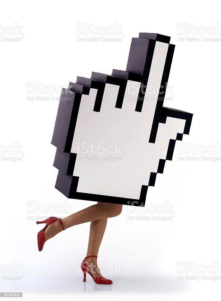 E-commerce hand cursor with legs of a woman running royalty-free stock photo