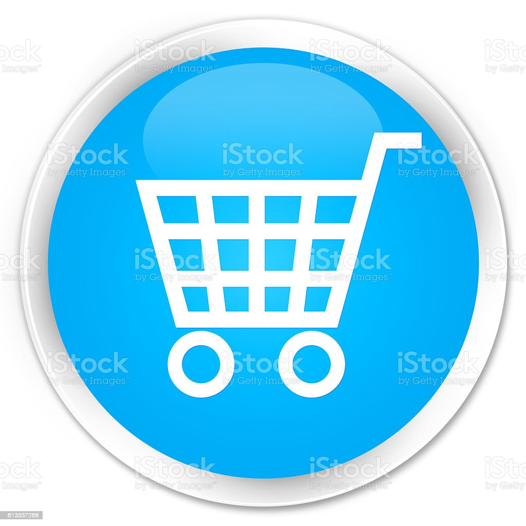 Ecommerce icon cyan blue glossy round button stock photo