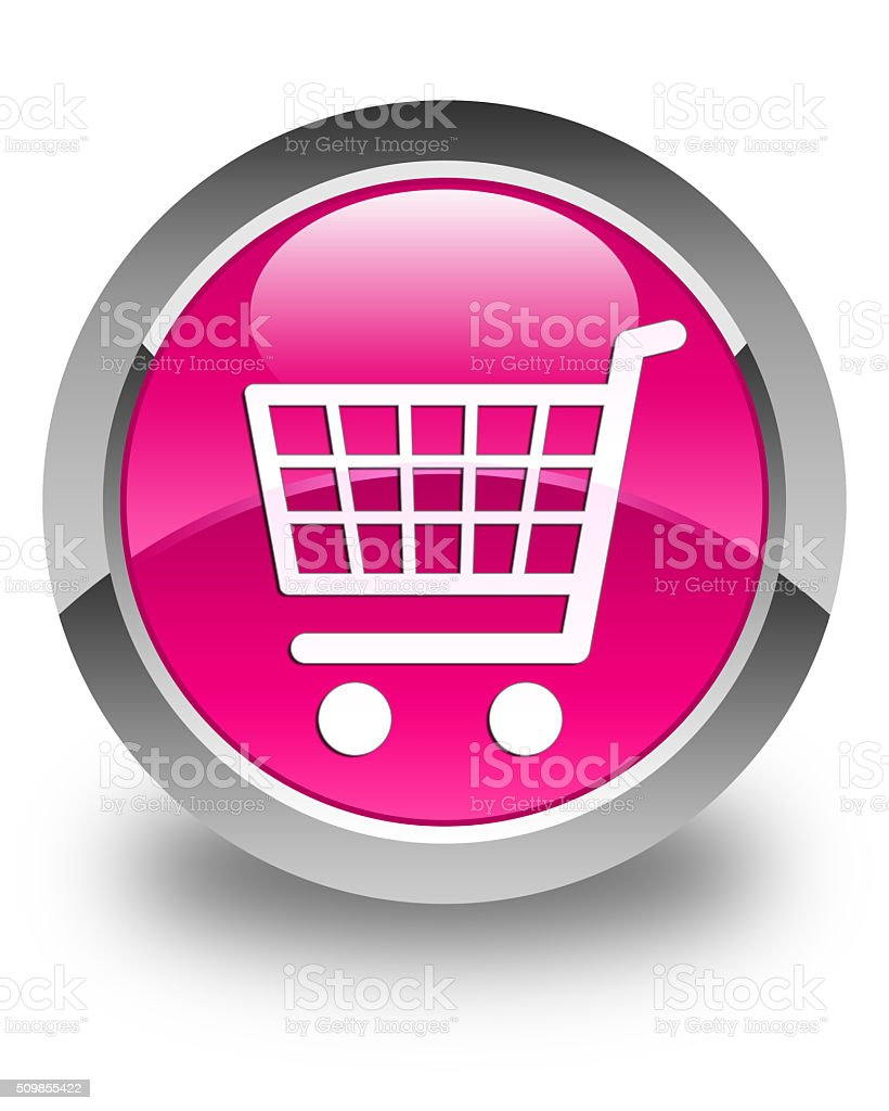 Ecommerce icon glossy pink round button stock photo
