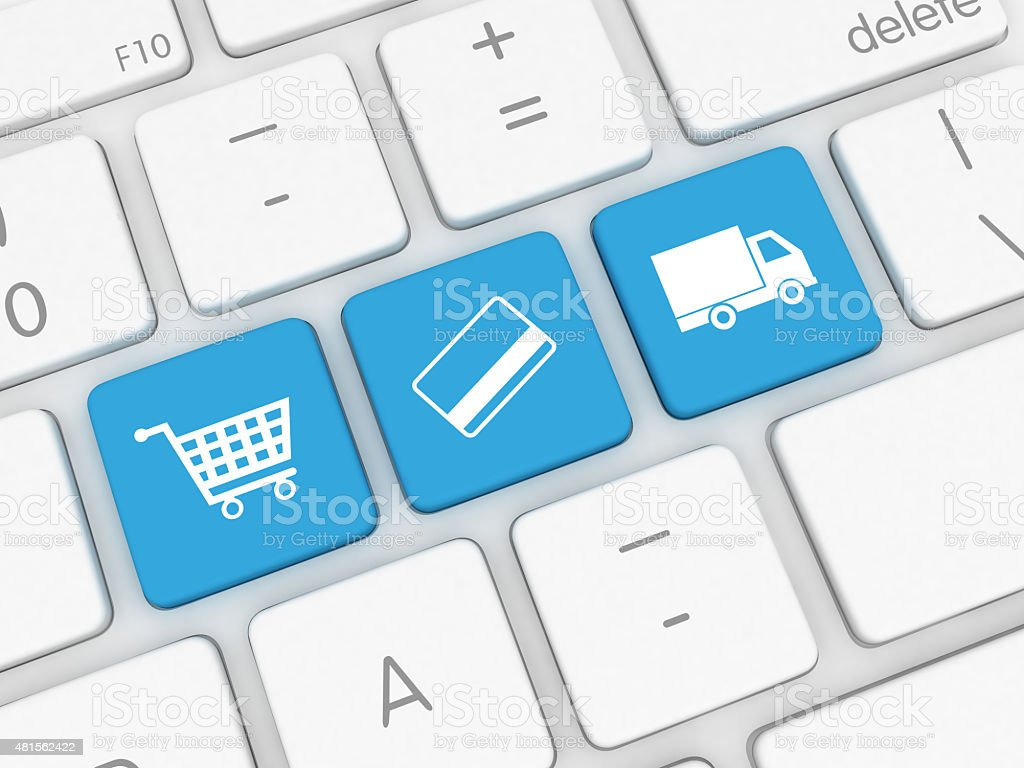 E-Commerce - internet shopping, payment, shipping delivery stock photo