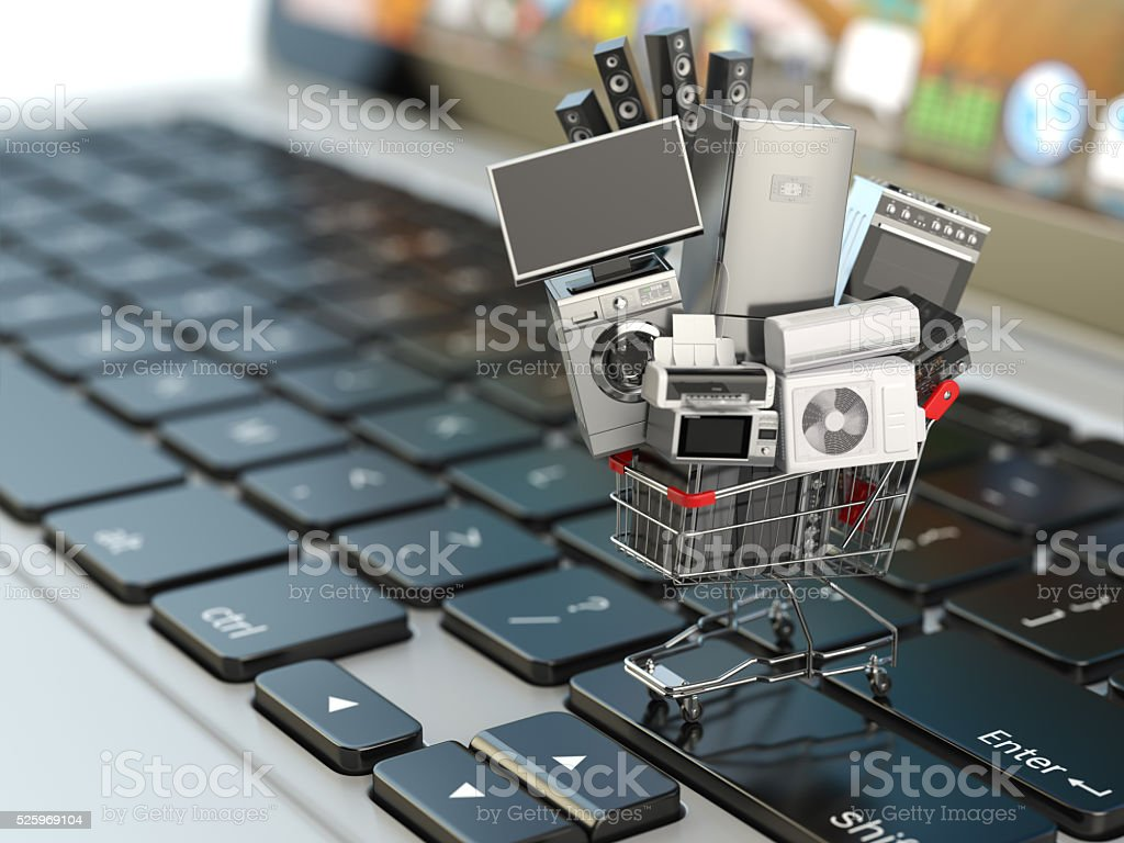 E-commerce or online shopping concept. Home appliance in shoppin stock photo