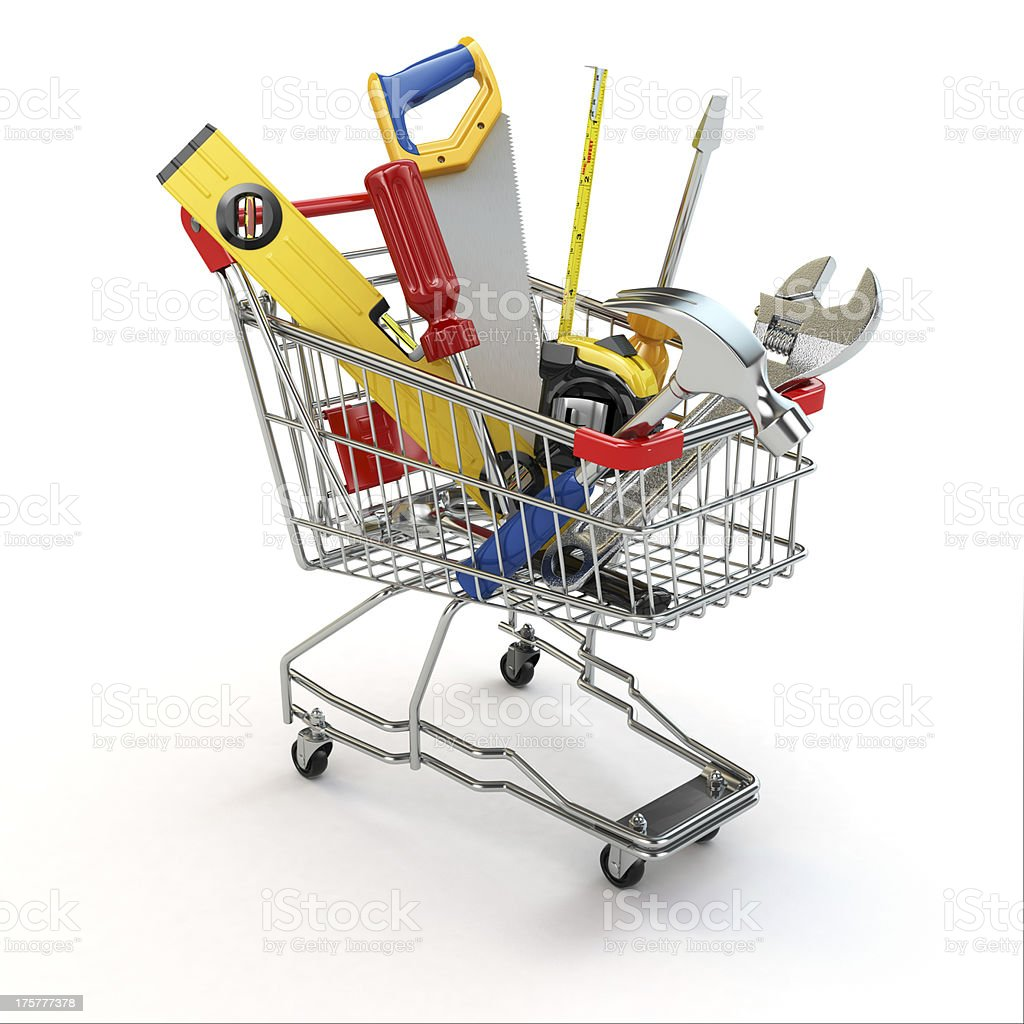 E-commerce. Tools and shopping cart. royalty-free stock photo