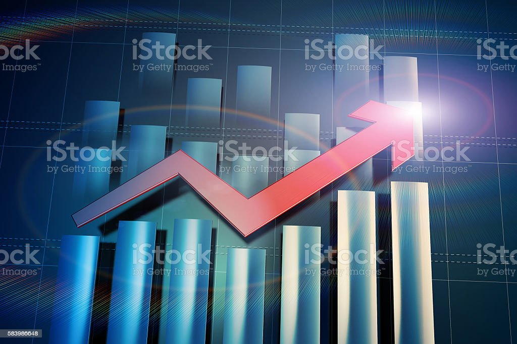 Economic arrow and histogram stock photo
