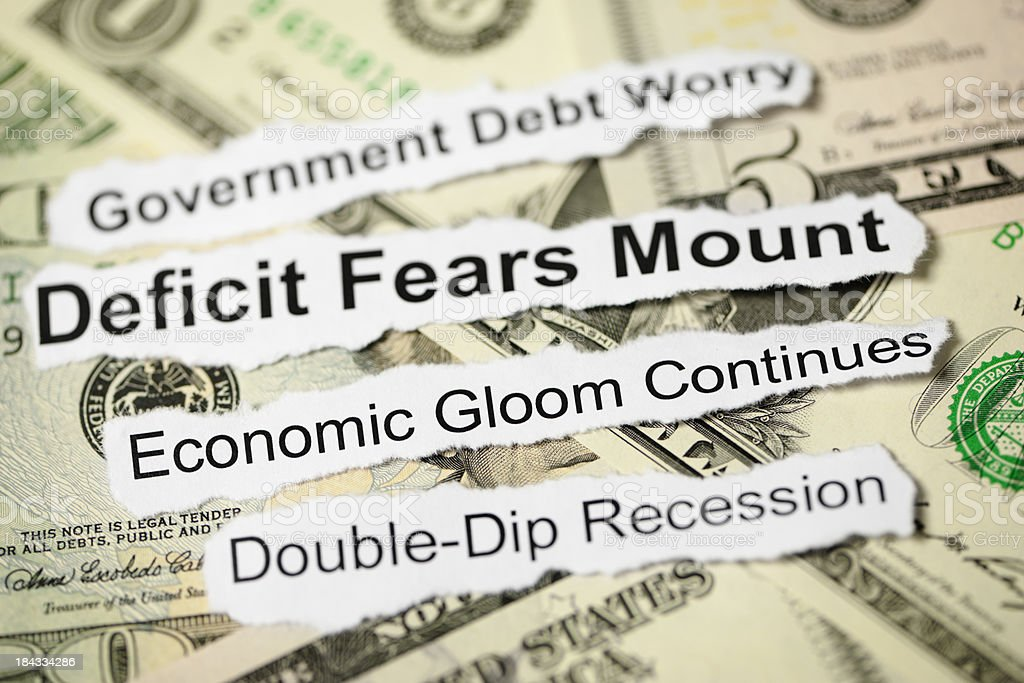 Economic Bad News Headline Topics stock photo