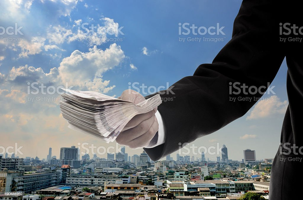 Economic capital injection concept, Businessman invest in capita stock photo