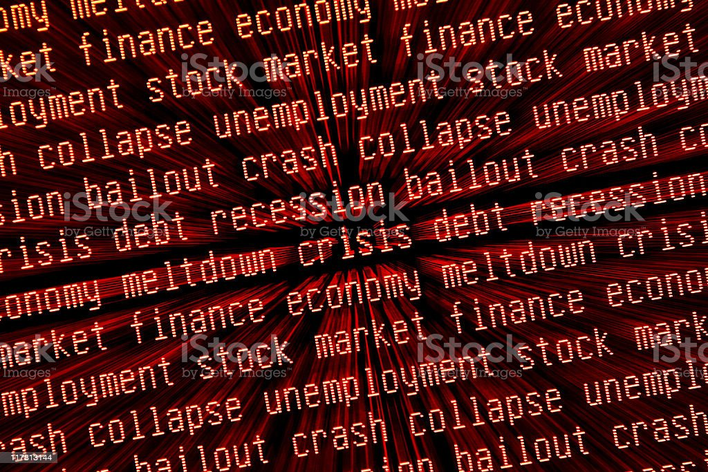 economic crisis - crash & recession keywords zoomed stock photo