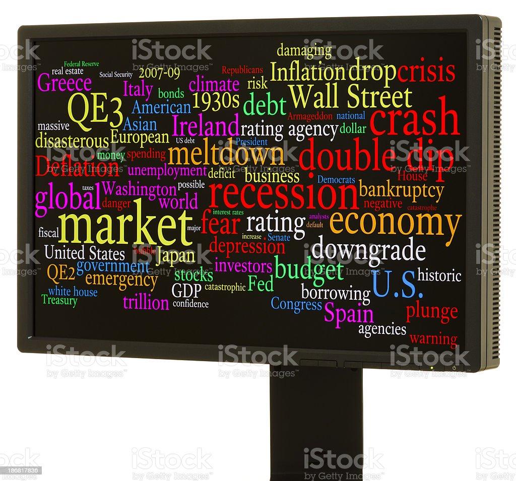 Economic crisis word cloud stock photo