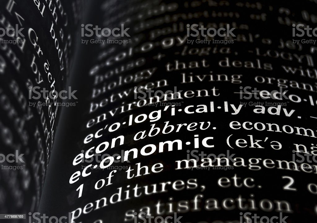Economic Defined on Black royalty-free stock photo