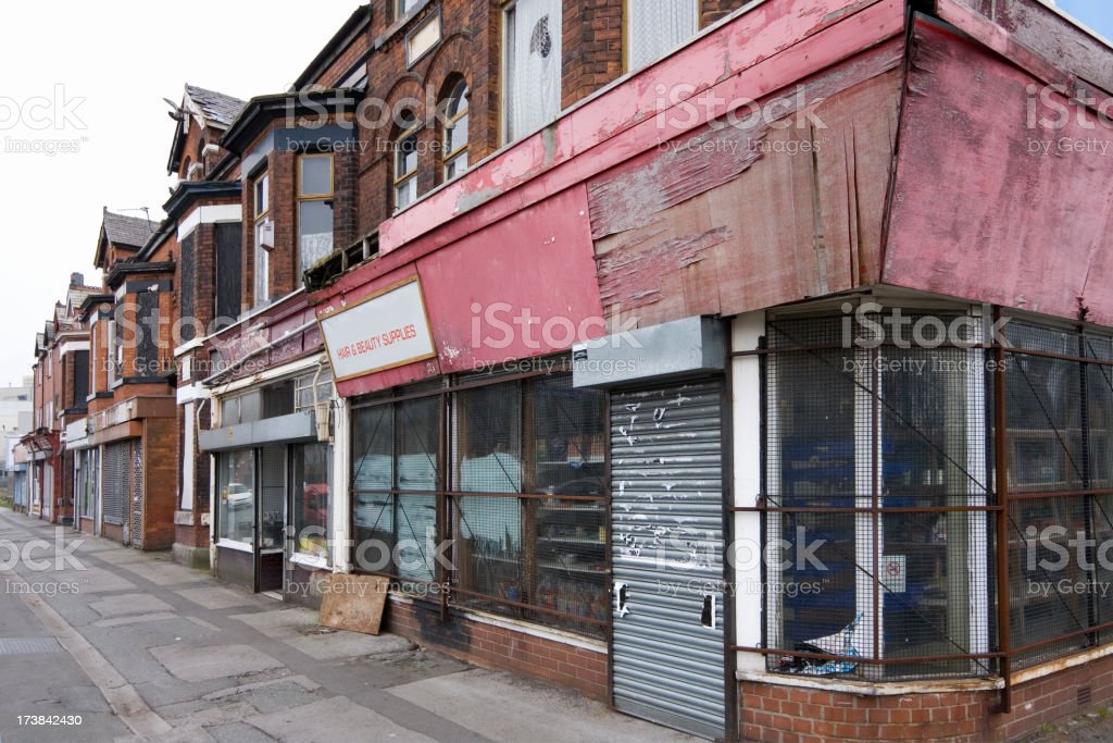 Economic depression, closed shops stock photo