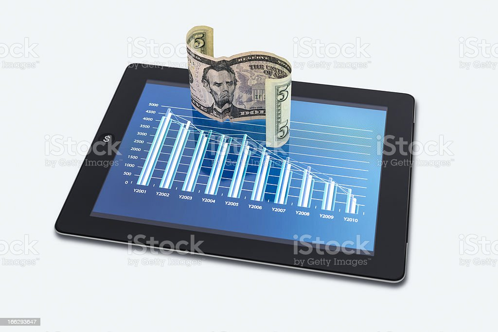 Economic downturn with a Sad Face Note royalty-free stock photo